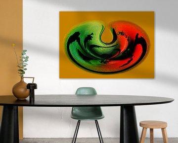 Digitale kunst object in rood en groen