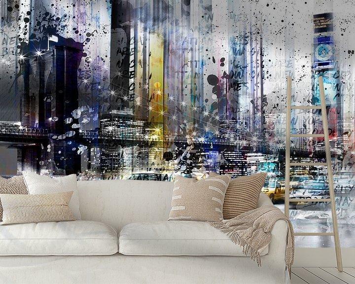 Sfeerimpressie behang: City-Art NYC Collage van Melanie Viola