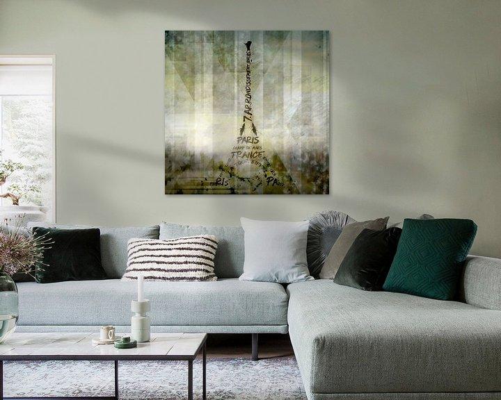 Sfeerimpressie: Digital-Art PARIS Eiffel Tower | Geometric Mix No.1 van Melanie Viola
