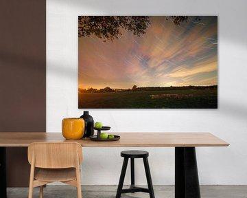 Nederlands landschap van sterrenspoor Scherpenzeel, Nederland van Jeroen Bos