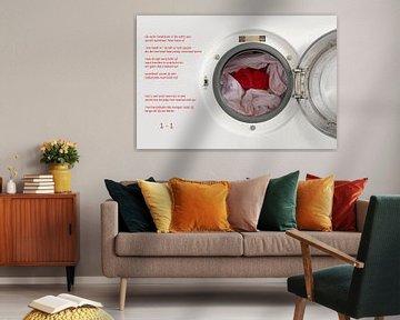 rode voetbalbroek in de wasmachine van Bargo Kunst