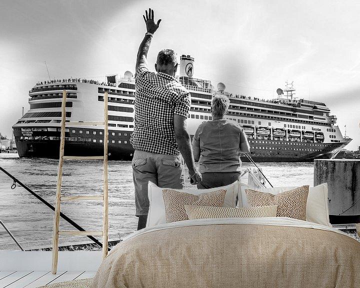 Sfeerimpressie behang: Uitzwaaien cruiseschip van Ton de Koning