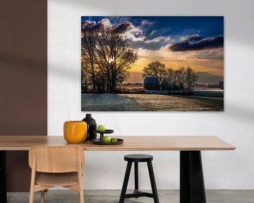 Winterzon op het Friese platteland van Harrie Muis