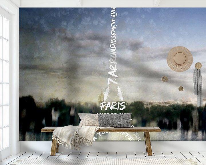 Sfeerimpressie behang: Digital-Art PARIS Eiffel Tower No.4 van Melanie Viola
