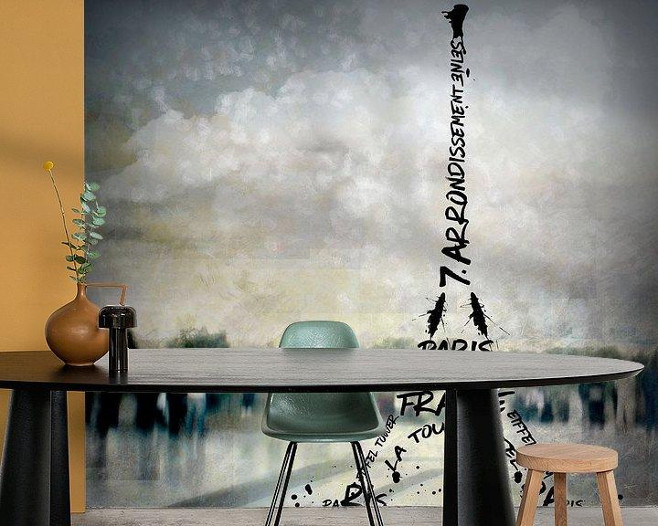 Sfeerimpressie behang: Digital-Art PARIS Eiffel Tower No.2 van Melanie Viola