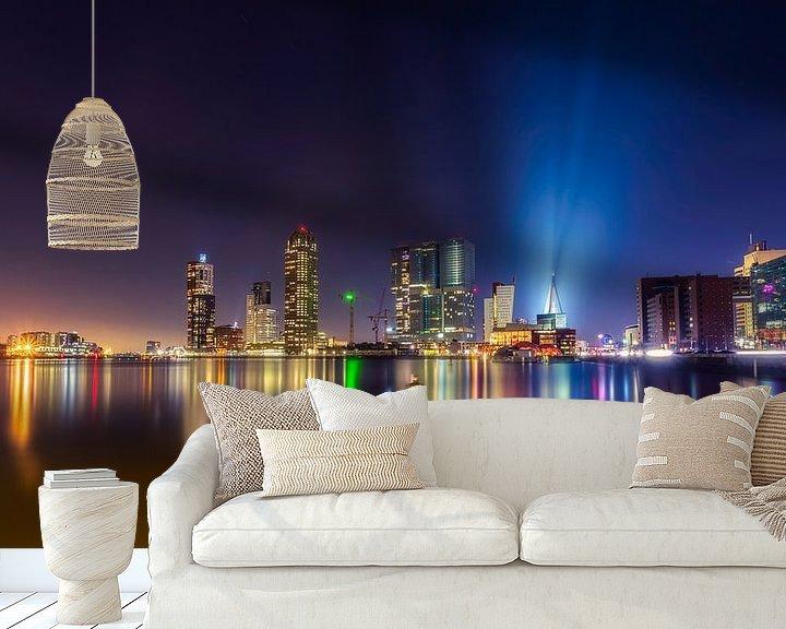 "Sfeerimpressie behang: Skyline Rotterdam ""Kop van Zuid"" van Michael van der Burg"