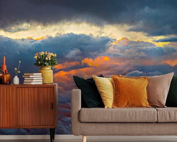 Beispiel fototapete: Ansicht von oben genanntem auf Wolken feiern mit untergehender Sonne von Fred Leeflang