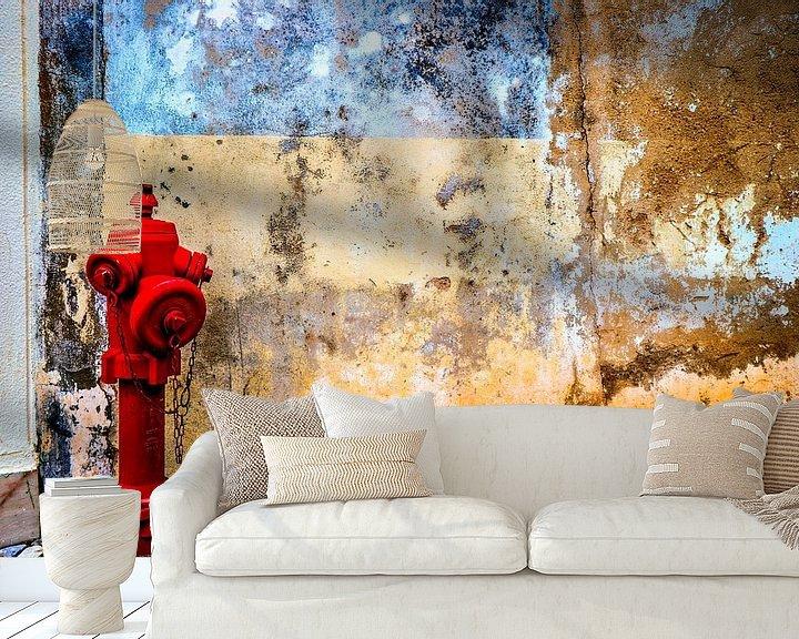 Beispiel fototapete: Alte Mauer mit Hydrant von Fred Leeflang