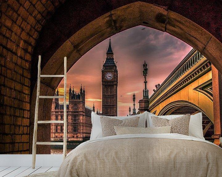 Sfeerimpressie behang: Big Ben doorkijkje van Henk Smit