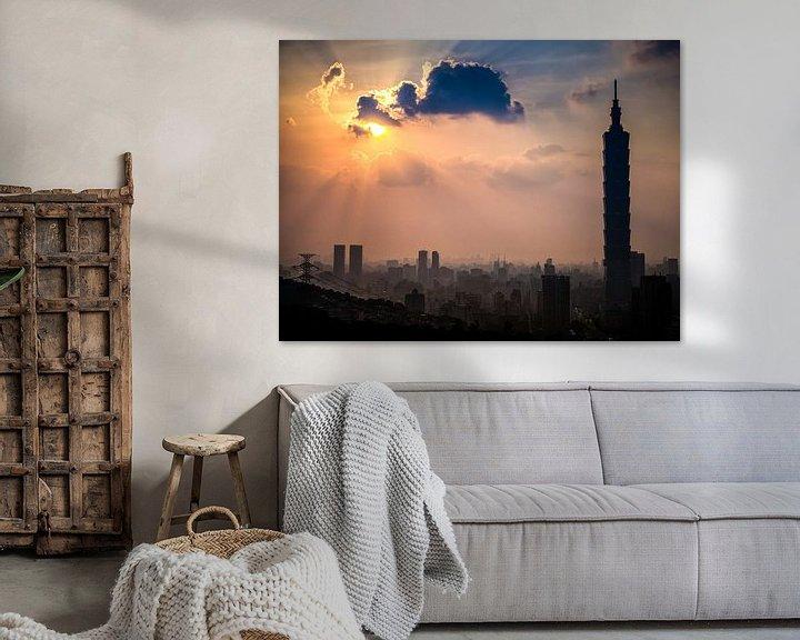 Sfeerimpressie: Taipei zonsondergang van Albert Dros