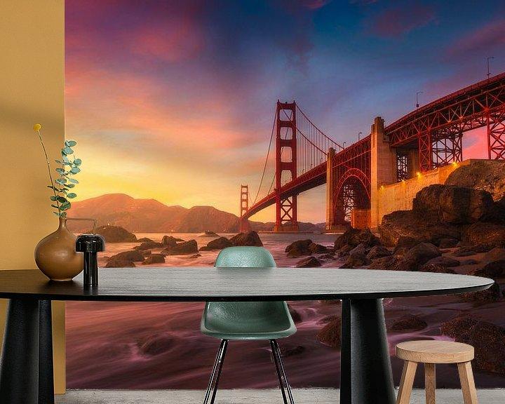 Sfeerimpressie behang: Golden Gate brug San Francisco van Albert Dros