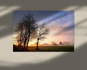 Zonsopkomst in Noord Brabant van Christa Thieme-Krus