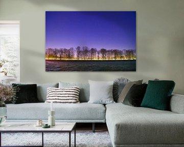 Sterrenhemel natuur landschap bij Overberg, Veenendaal van Jeroen Bos