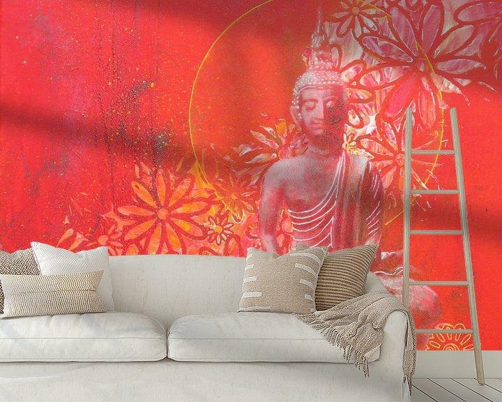 Sfeerimpressie behang: Boeddha Red II van Helma van der Zwan