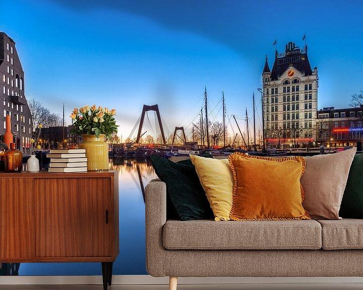 Sfeerimpressie behang: Oude haven in het blauwe uur van Prachtig Rotterdam