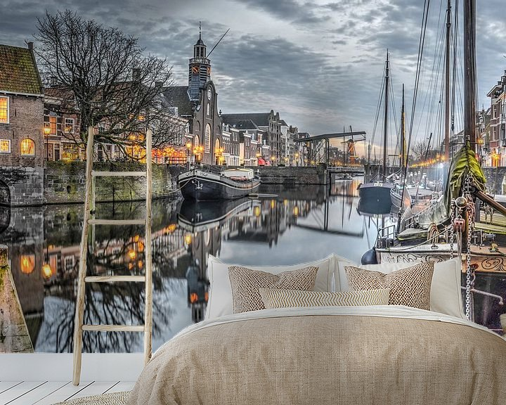 Sfeerimpressie behang: Schemering in Delfshaven, Rotterdam van Frans Blok