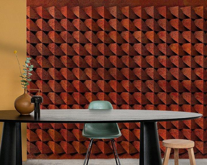 Sfeerimpressie behang: Reliëf A3 Cortenstaal van Frans Blok