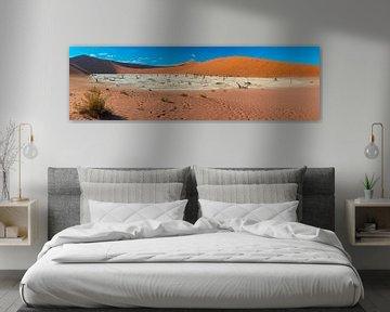 Panoramafoto met een overzicht van de Dode vallei, Namibië van Rietje Bulthuis