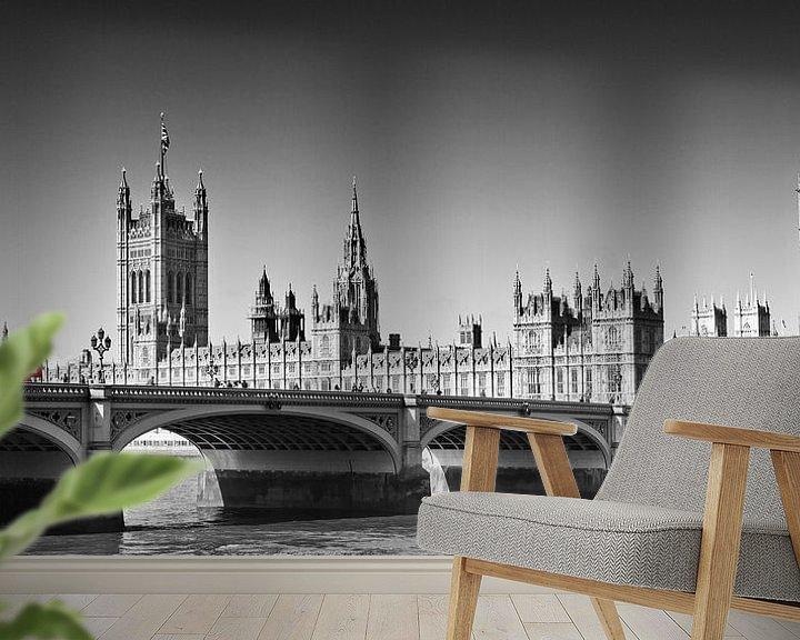 Sfeerimpressie behang: LONDON Westminster Bridge   Panoramic view van Melanie Viola