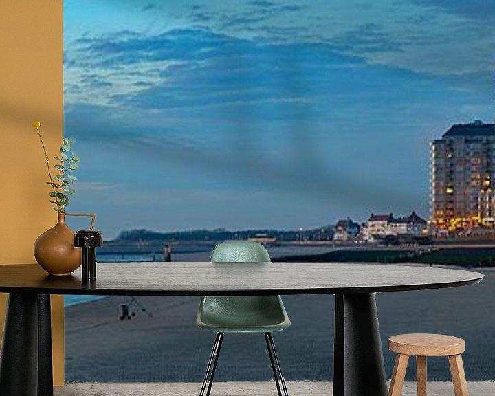 Sfeerimpressie behang: Panorama Strand Vlissingen. van Anton de Zeeuw