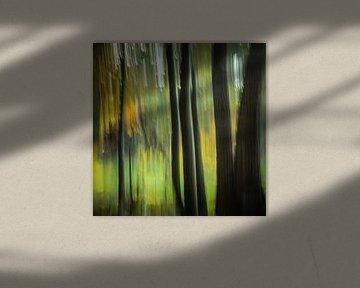 Bos in vertical blur (vierkant) van Fotografie Jeronimo