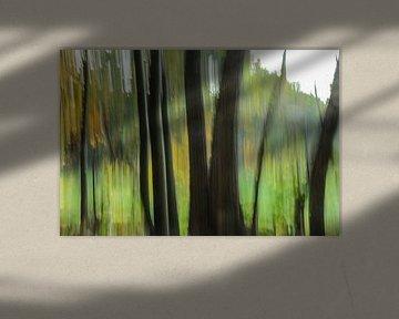 Bos in vertical blur
