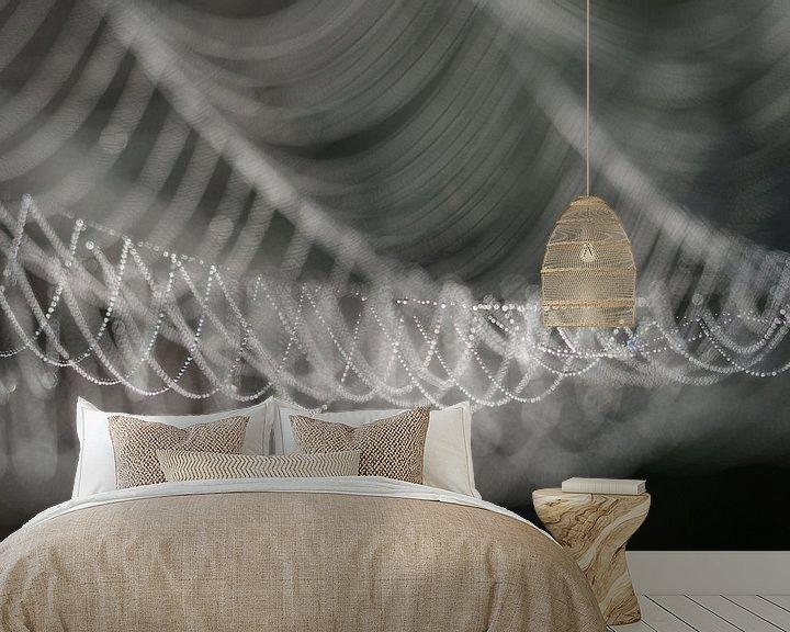 Beispiel fototapete: Bedauwd spinnenweb von Astrid Brouwers