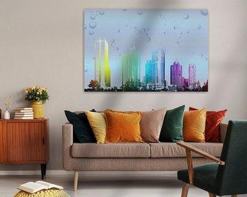 Skyline in regenboogkleuren, digitale bewerking van Rietje Bulthuis
