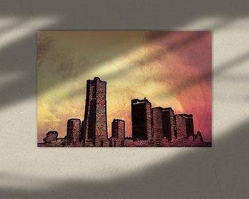 Skyline met rood en geel, digitale bewerking van Rietje Bulthuis