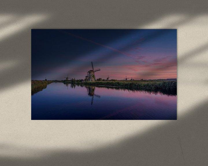 Sfeerimpressie: Kinderdijk zonsondergang van Michiel Buijse