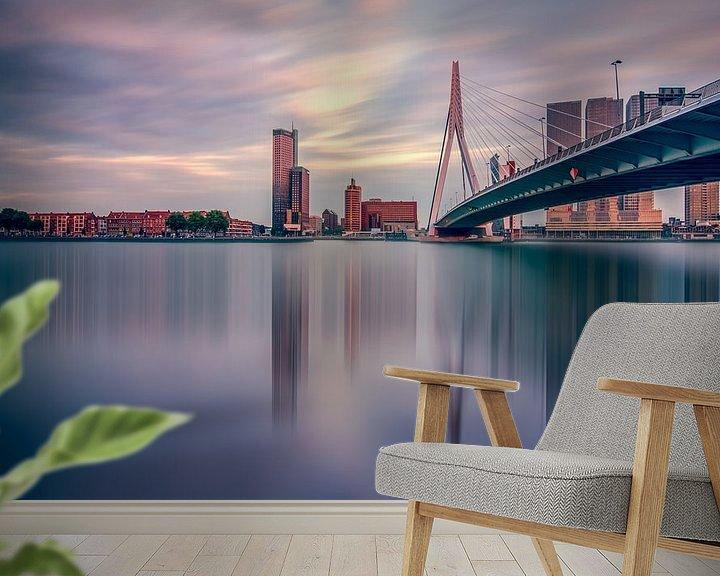 Sfeerimpressie behang: Skyline Rotterdam van Michiel Buijse