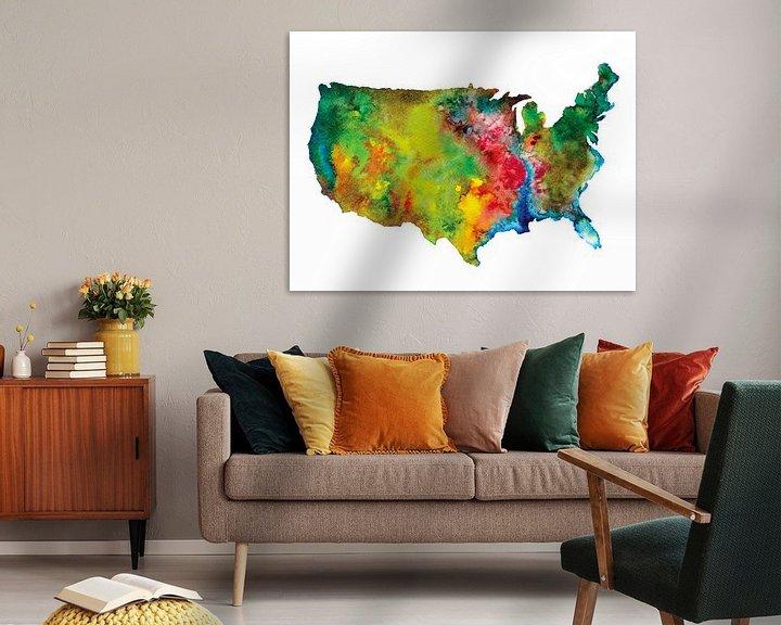 Impression: Carte de l'Amérique du Nord en style abstrait | Peinture à l'aquarelle sur Wereldkaarten.Shop