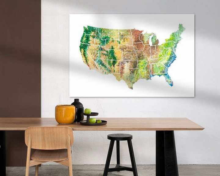 Beispiel: USA Map in Aquarell von Wereldkaarten.Shop