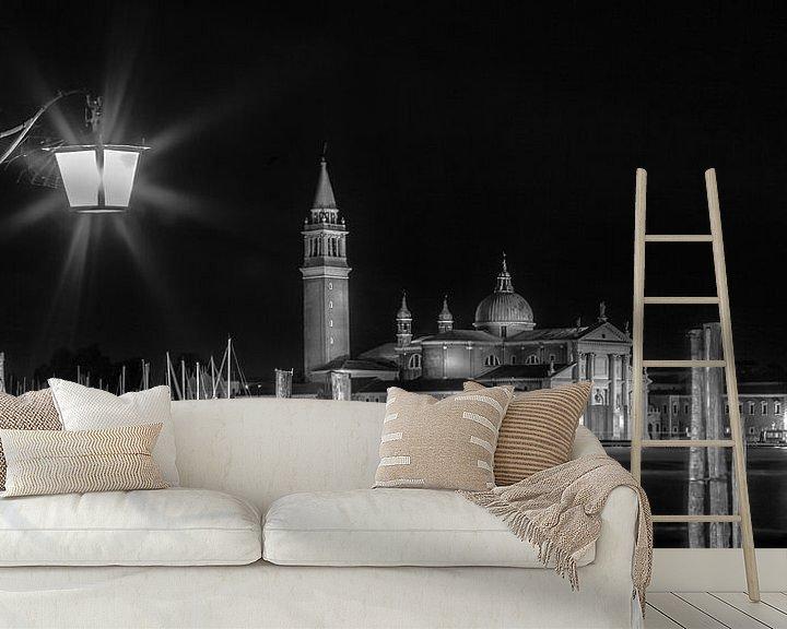 Impression: VENEDIG San Giorgio Maggiore bei Nacht sw | Panorama  sur Melanie Viola