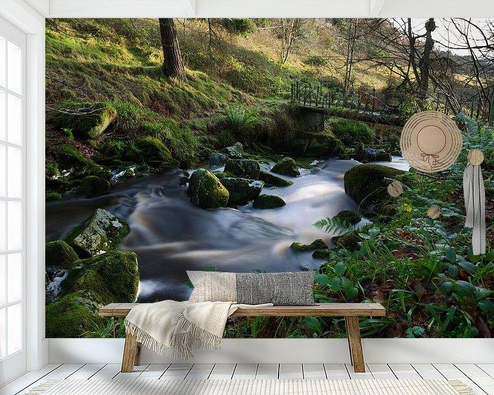 Sfeerimpressie behang: Fantasie brug met zacht water in een beekje in Ierland van Steven Dijkshoorn