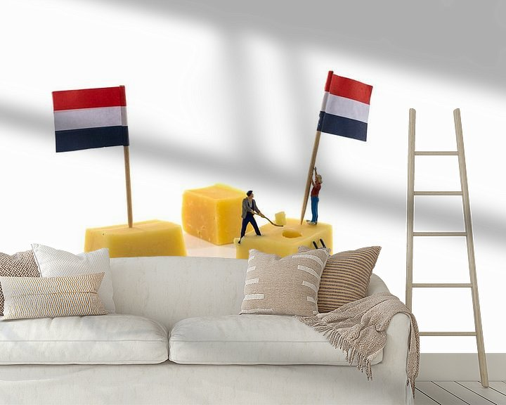 Impression: little people putting flags on dutch cheese sur ChrisWillemsen