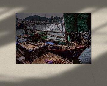 Traditionele vissersboot in Vietnam van Godelieve Luijk