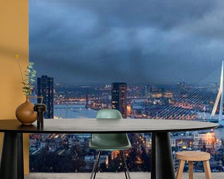 Sfeerimpressie behang: Rotterdam skyline, Panorama van Hille Bouma