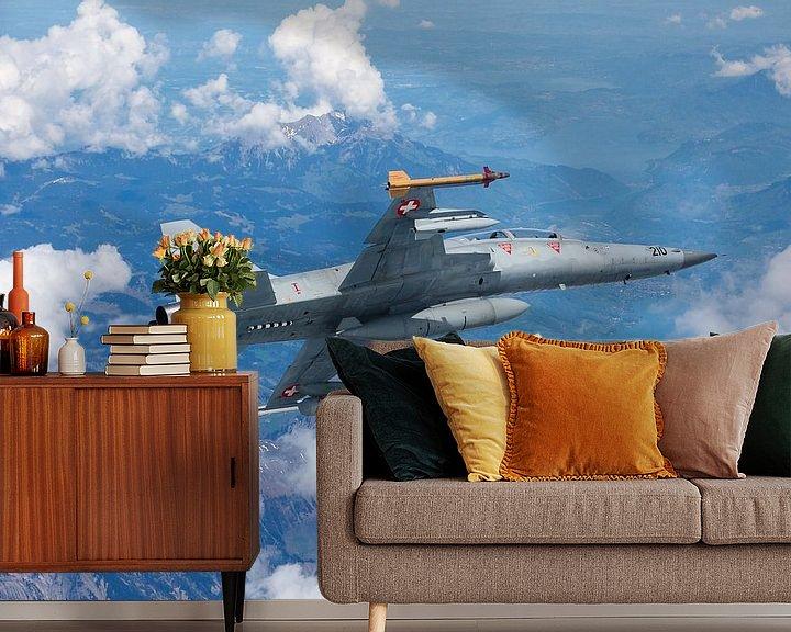 Sfeerimpressie behang: Zwitserse Luchtmacht F-5 Tiger II van Dirk Jan de Ridder
