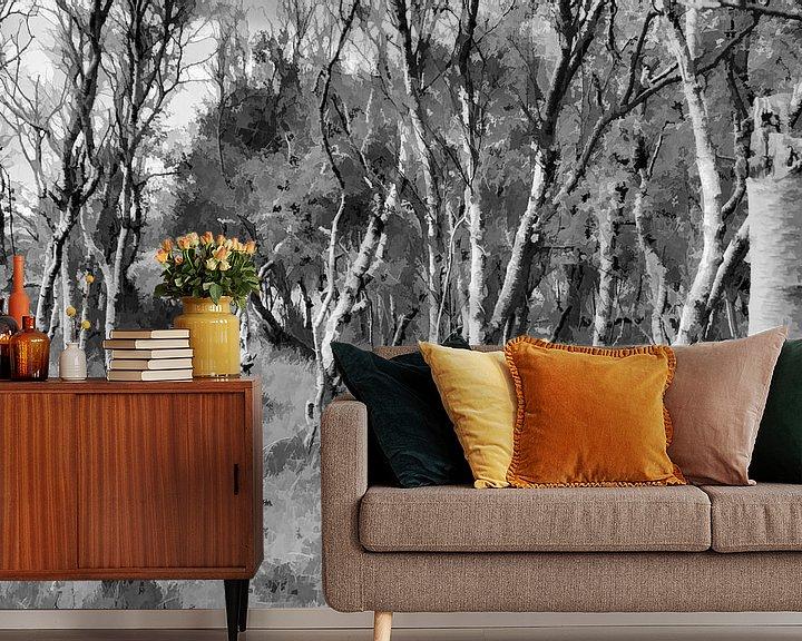 Sfeerimpressie behang: Berkenbos in zwartwit, Digitale kunst van Watze D. de Haan