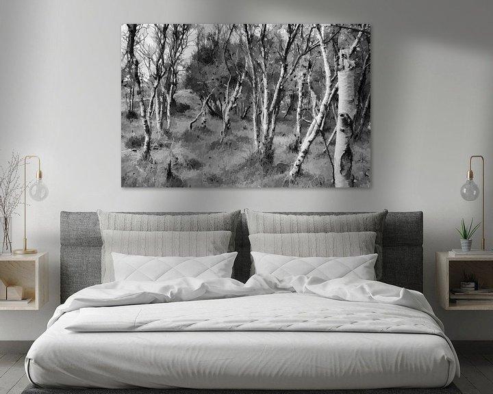 Sfeerimpressie: Berkenbos in zwartwit, Digitale kunst van Watze D. de Haan