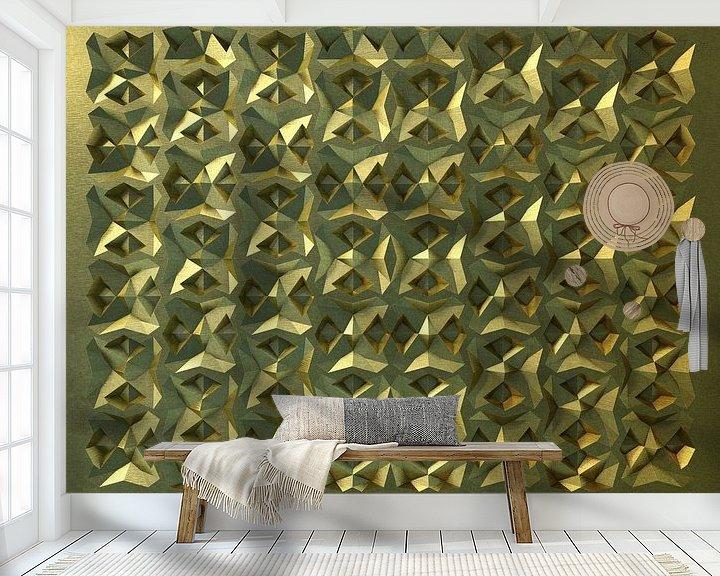Sfeerimpressie behang: Reliëf E1 Goud van Frans Blok