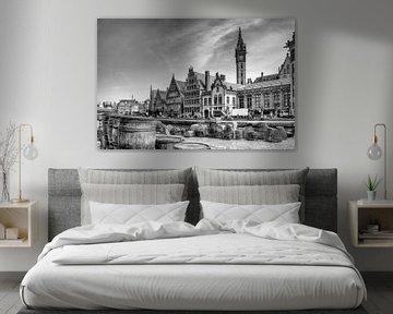 Gent Belgie, Digitale kunst in zwartwit van Watze D. de Haan