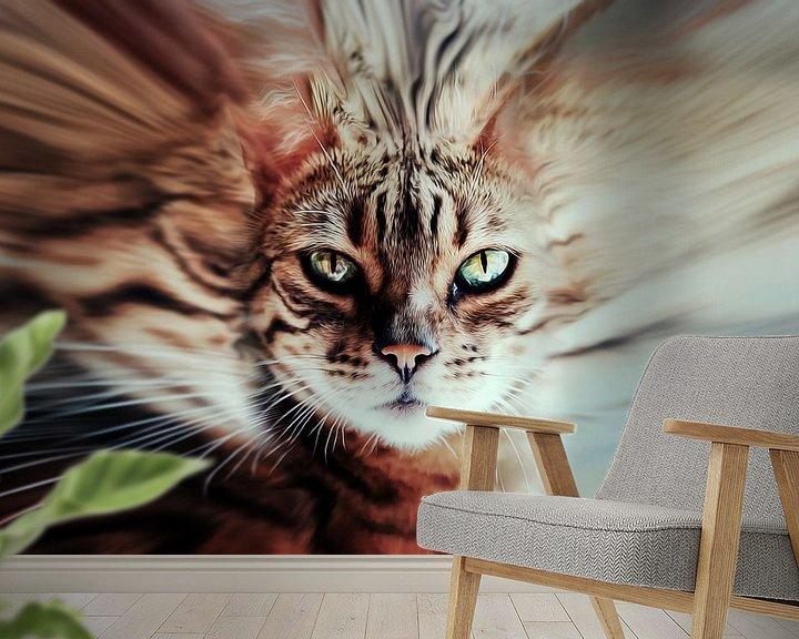 Sfeerimpressie behang: Surreal cat van Nannie van der Wal