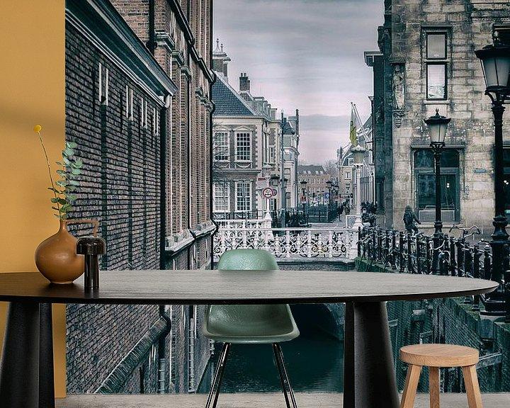 Sfeerimpressie behang: De Drift in Utrecht met zijn vele bruggen. (2) van De Utrechtse Grachten