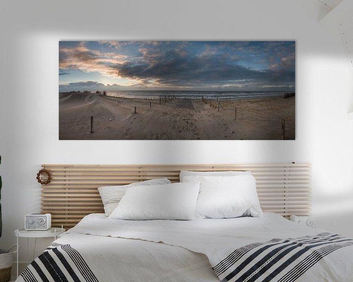 Impression: Panorama zonsondergang nederlands strand sur Arjen Schippers