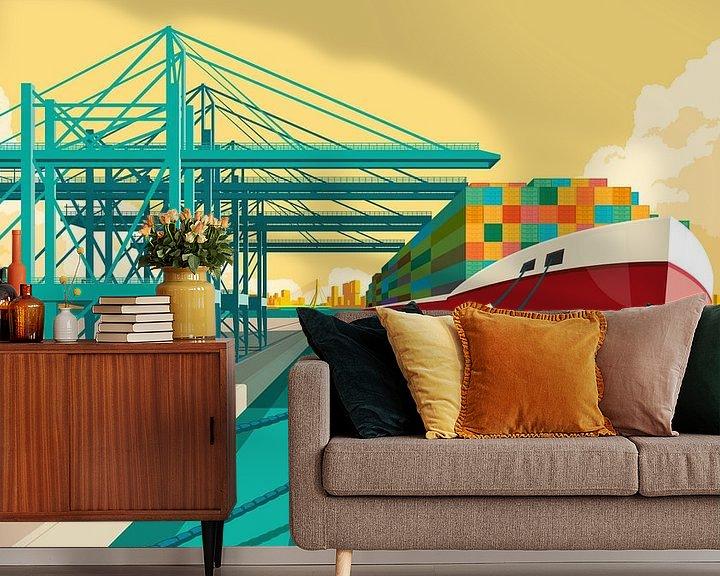 Sfeerimpressie behang: Rotterdam Harbor van Remko Heemskerk