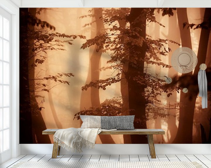 Sfeerimpressie behang: Herfts in het bos (bruintinten) van Mark Scheper