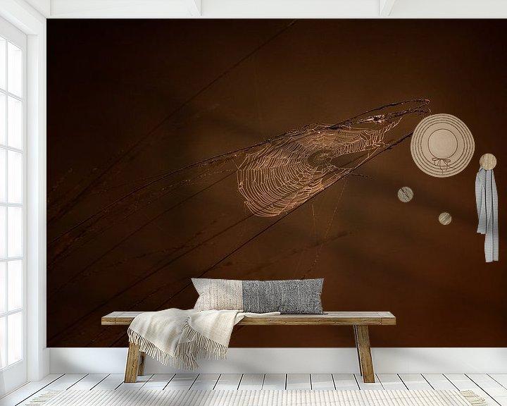 Sfeerimpressie behang: Spinneweb bij zonsopkomst van Ruud Peters