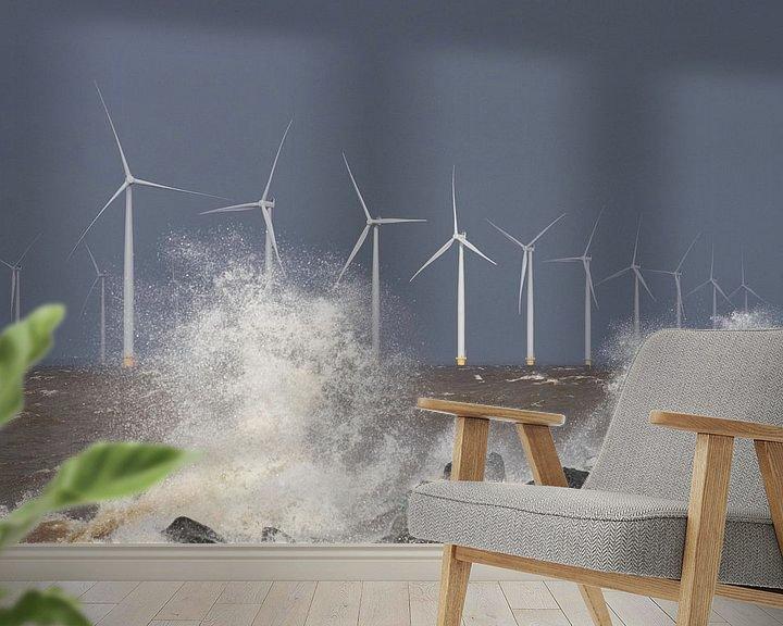 Sfeerimpressie behang: Windpark Westermeerwind van Ruud van der Lubben